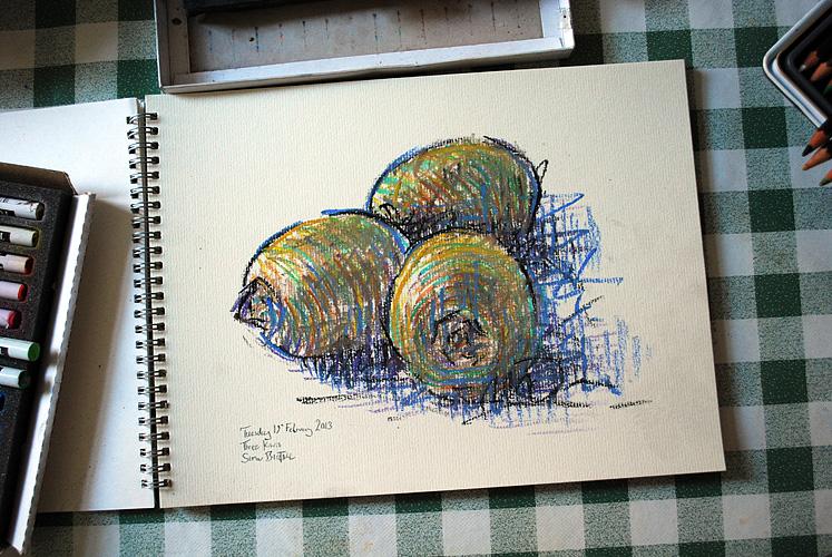 Kiwi Fruit Drawing Depicts Three Kiwi Fruit