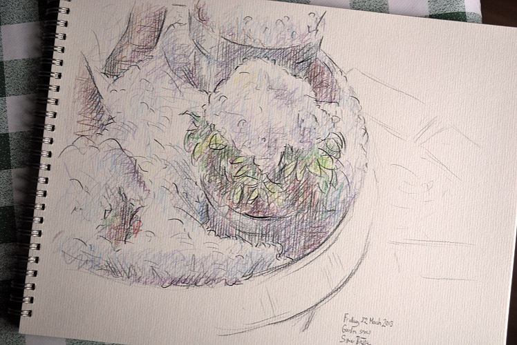Drawing of plants under snow