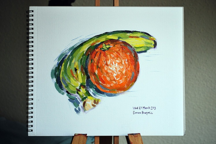 Painting of an orange and a banana