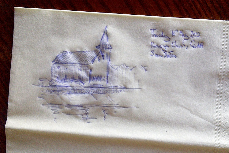 Norwegian Church drawing by Simon Birtall