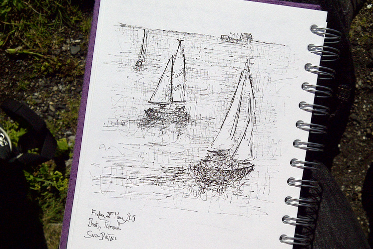 Drawing of boats by Simon Birtall