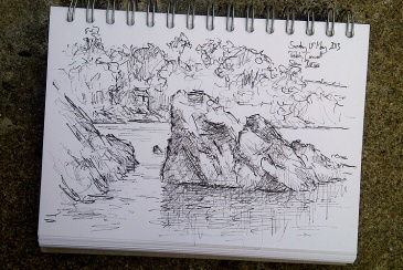 Drawing of Helford River by Simon Birtall