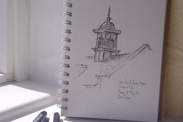 Pen drawing - Parade school Hoylake - by Simon Birtall