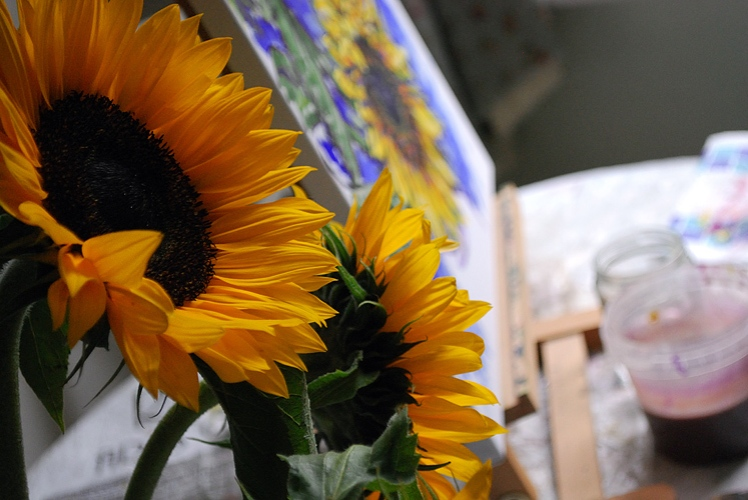 Painting some sunflowers