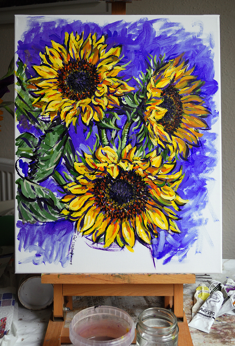 Sunflowers painting by Simon Birtall