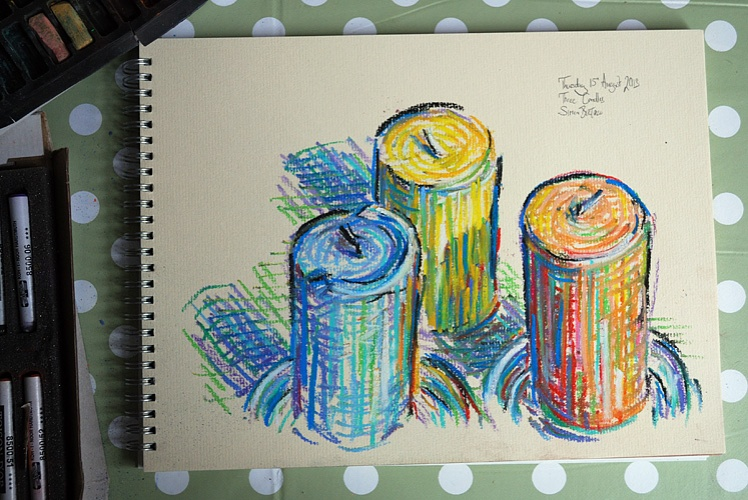 Drawing of three candles
