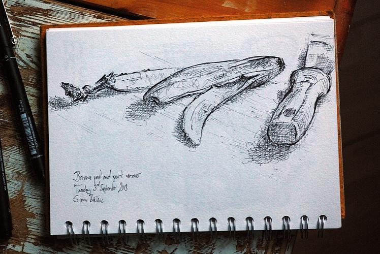 Drawing of a banana peel and paint scraper