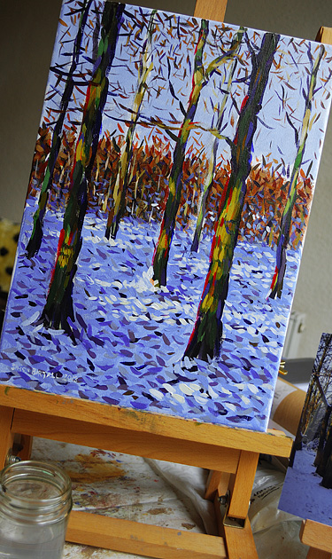 Painting of woods after snowfall