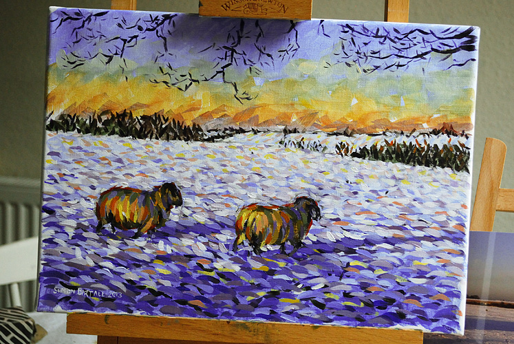 Painting of 2 sheep in snow