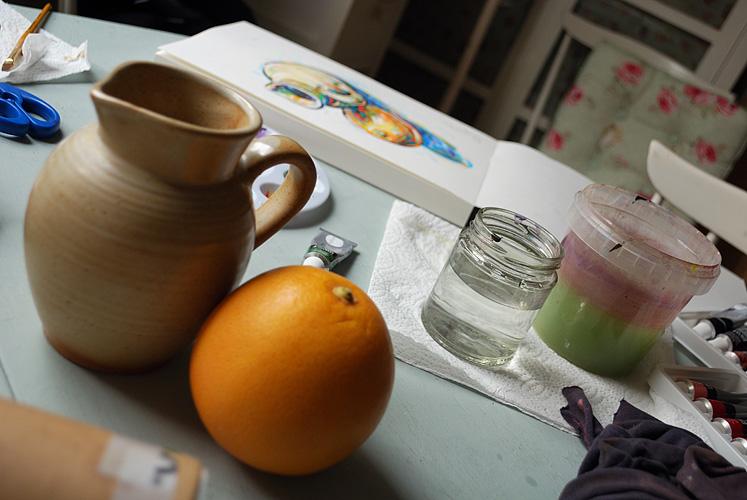 Sketching a ewer and grapefruit