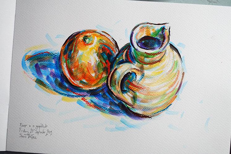 Artwork - a ewer and a red grapefruit