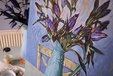 Painting blue lilies