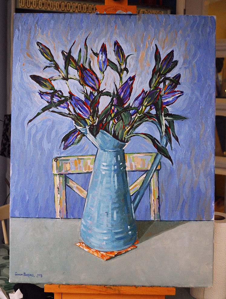 Painting of blue lilies in a vase