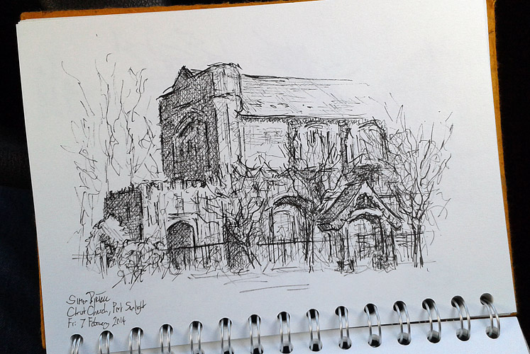Pen drawing of Christ Church, Port Sunlight