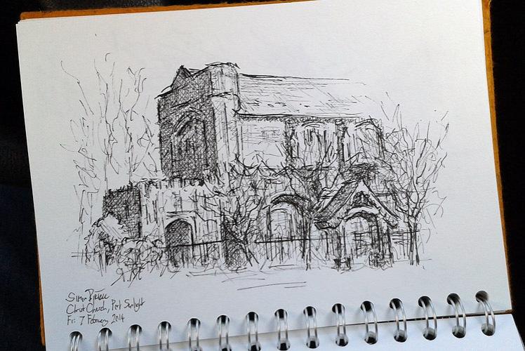 Pen drawing of Christ Church, Port Sunlight