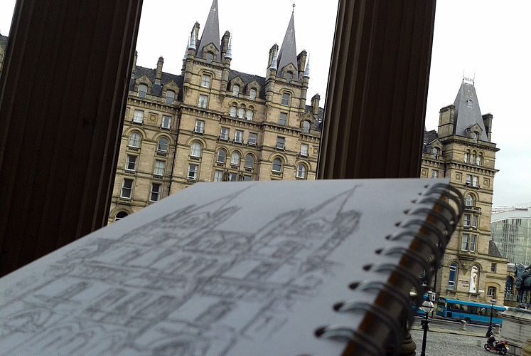 Drawing the North Western Hotel, Liverpool