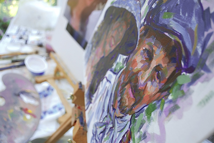 Painting a portrait in acrylics