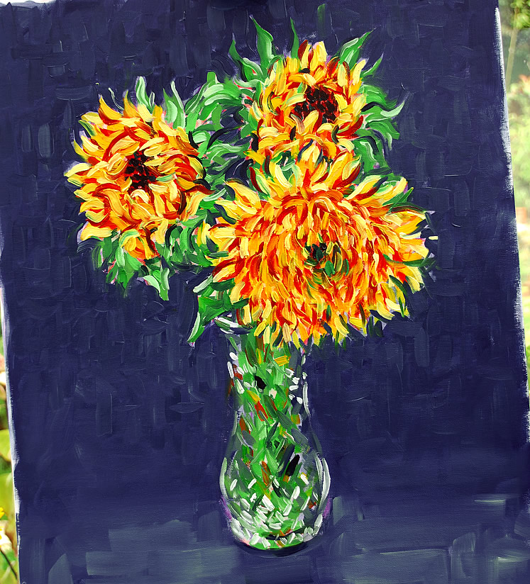 Painting - Three Sunflowers