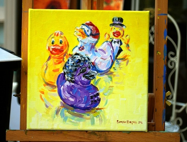 Painting of rubber ducks