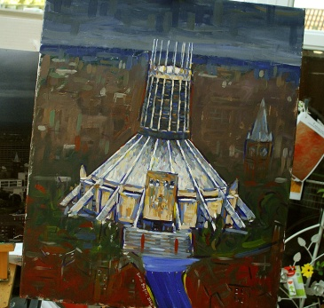 Painting of Liverpool Metropolitan Cathedral