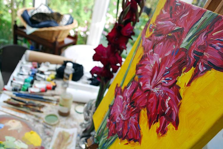Painting gladioli