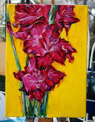 Painting of gladioli