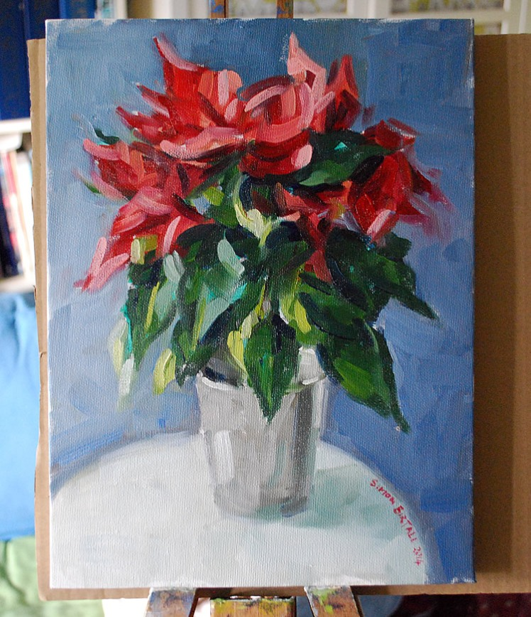 Painting of a poinsettia