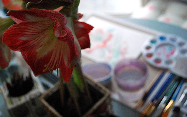 Painting an amaryllis