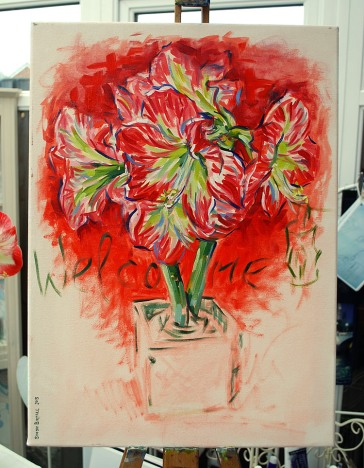 Painting of an amaryllis