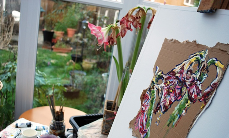 Painting session - an amaryllis