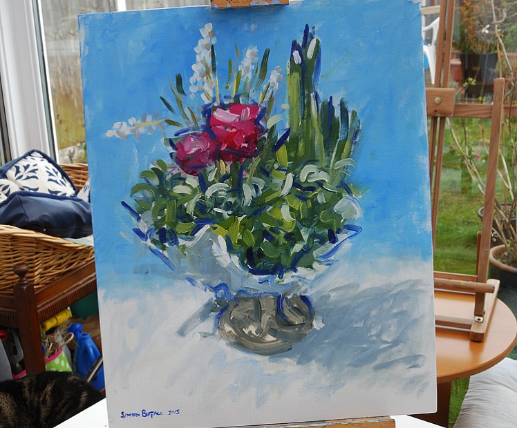 Still life painting in alkyds on canvas board