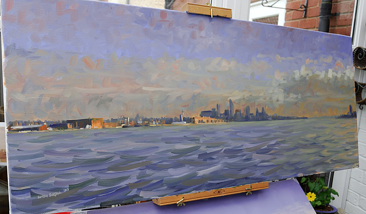 Painting of Liverpool waterfront