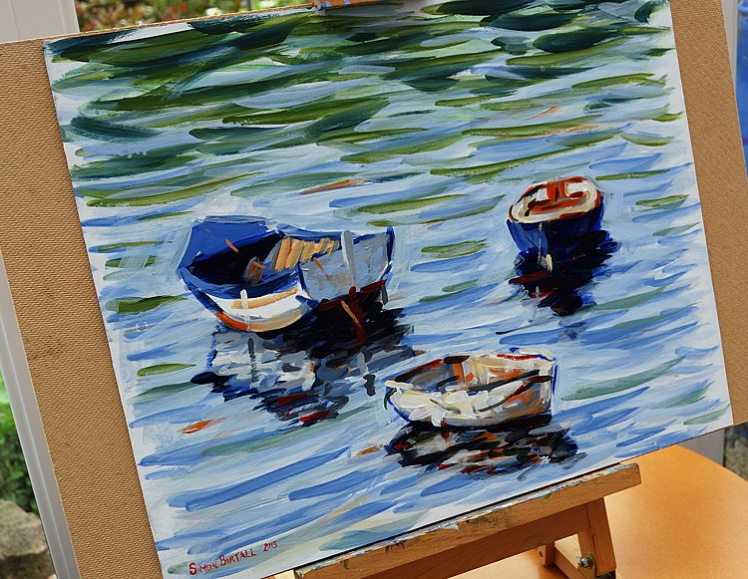 Painting of boats in Tobermory Bay