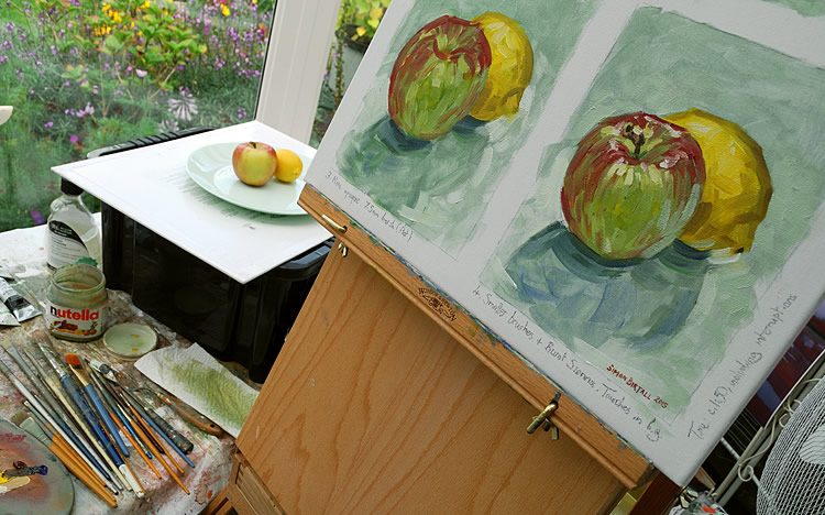 Painting a still life in oils