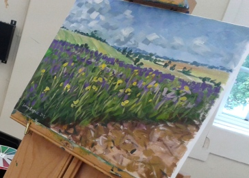 Painting of lavender fields