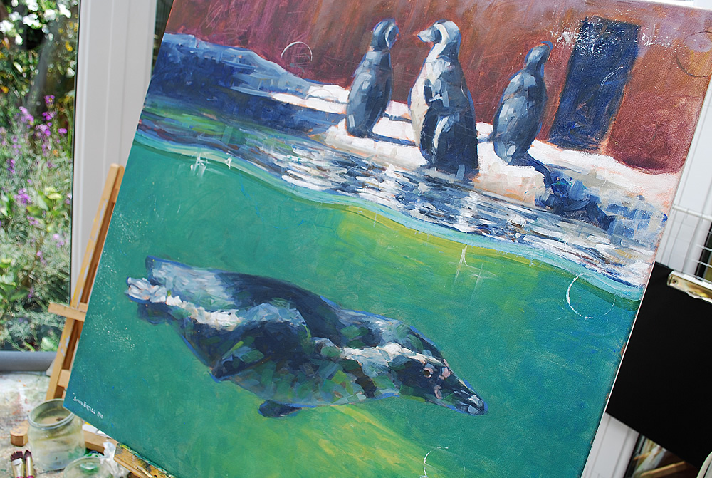 Painting of penguins by Simon Birtall