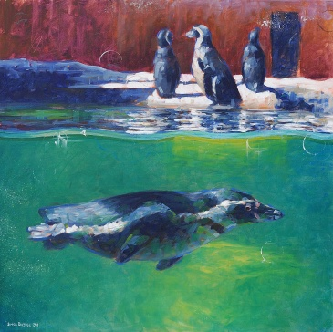 Where's Bert? Painting of penguins by Simon Birtall