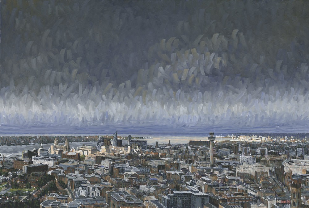 View of Liverpool from the Anglican Cathedral - painting by Simon Birtall