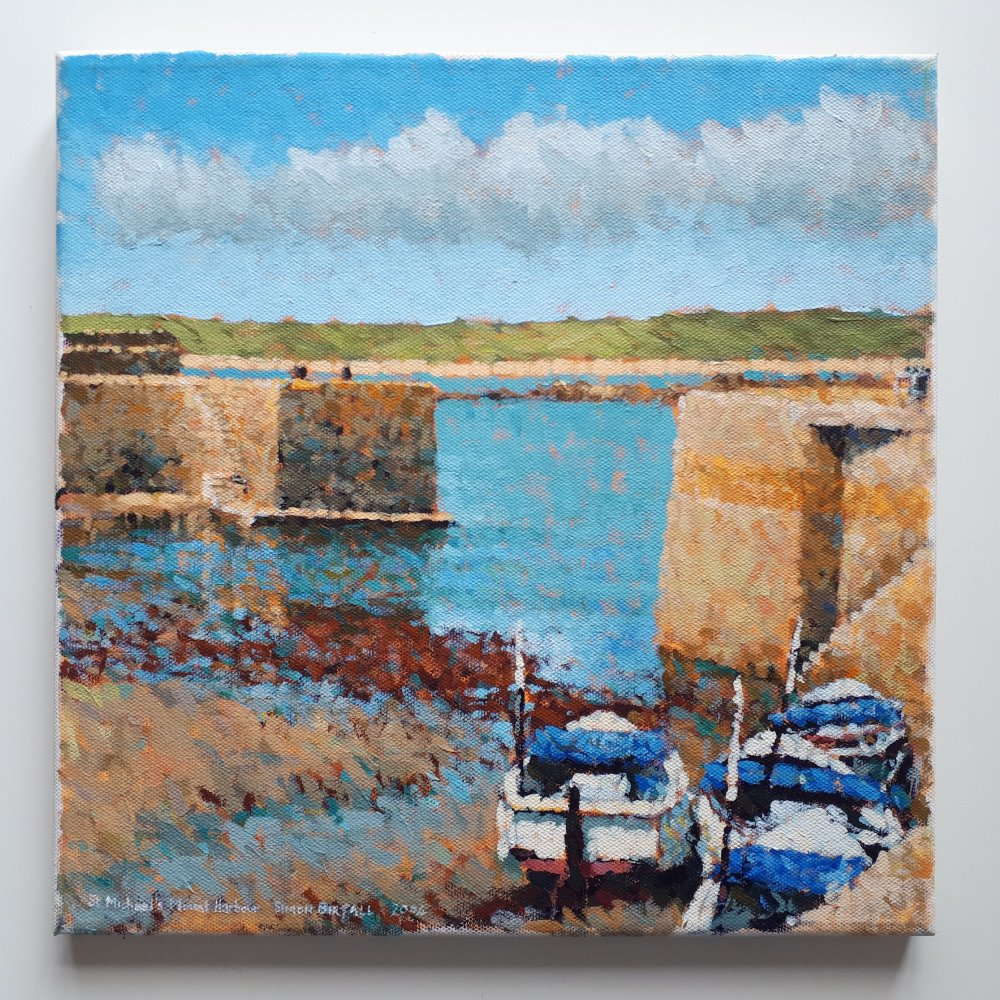 Painting - the harbour at St Michael's Mount, Cornwall