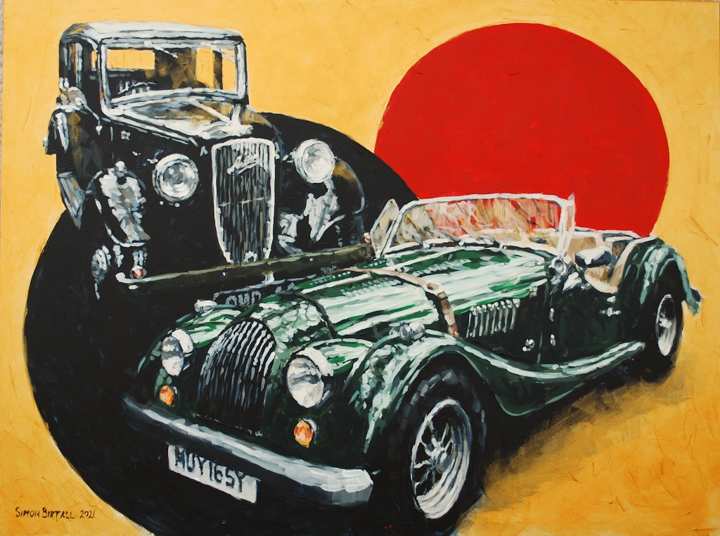 Classic car painting in acrylics