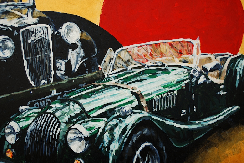Classic cars - painting in acrylics